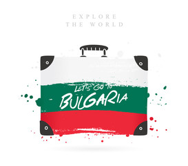 Suitcase with the flag of Bulgaria. Lettering.