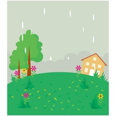 rainy meadow grassland pasture yard scenery landscape background