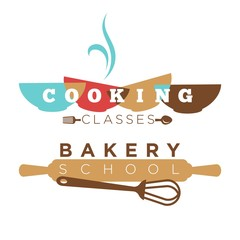 Bakery school or cooking classes vector icon