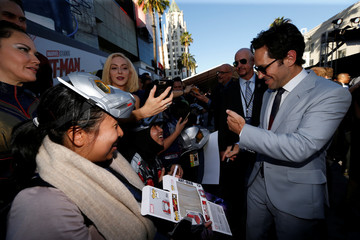 "Paul Rudd greets fans at the premiere of the movie ""Ant-Man and the Wasp"" in Los Angeles"