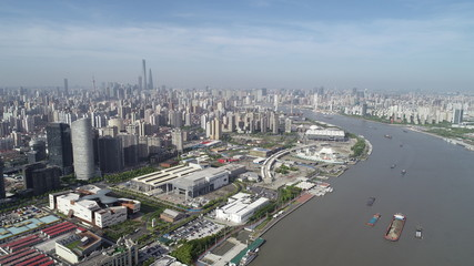 Shanghai china money logistics Marine transport  ship business Finance flow April may June Airpollution