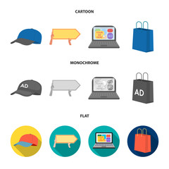 Baseball cap, pointer in hands, laptop, shopping bag.Advertising,set collection icons in cartoon,flat,monochrome style vector symbol stock illustration web.