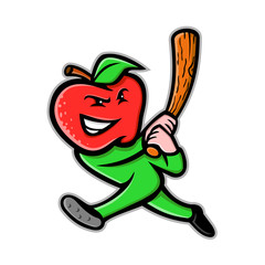 Mascot icon illustration of an apple, a sweet, edible fruit produced by apple trees,  as baseball player batting with baseball bat viewed from side on isolated background in retro style.