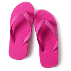 Pink flip flop sandals isolated on white background