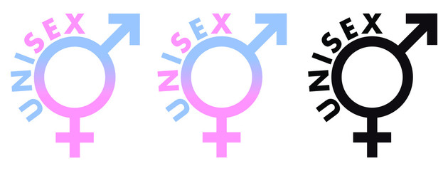 Unisex symbol. Male and Female sex sign combined, in blue pink and black colour, with text around.