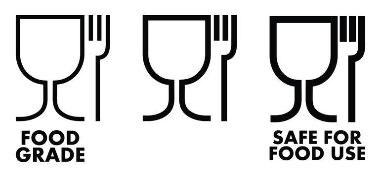 Food safe material sign. Wine glass and fork symbol meaning plastics is safe.