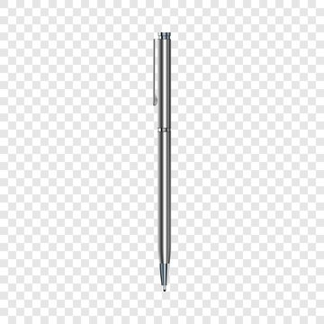 Silver pen mockup. Realistic illustration of silver pen vector mockup for web