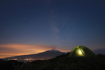 Starry Night On Etna Mount, Sicily