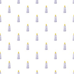 Bottle with nipple pattern seamless repeat in cartoon style vector illustration