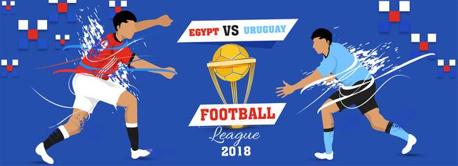 Football champion league, match between Egypt v/s Uruguay with winning golden trophy, social media header or banner design.