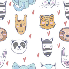 Cute animals. Pattern. Scandinavian style. Prints for clothes and postcards, for children. For your design.