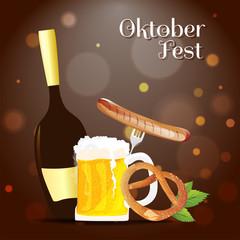 Oktoberfest banner or poster design, beer mug, bottle, sausage with fork and pretzel, leaves on brown bokeh background.