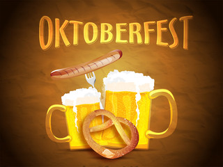 Oktoberfest banner or poster design, beer mugs, sausage with fork and pretzel on glossy brown texture background.