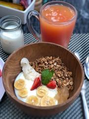 Healthy granola breakfast with banana