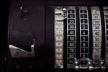 Numbers on mechanical cash register counter machine