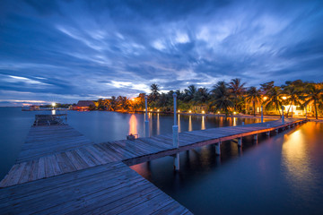 Boardwalk in Placencia, Belize at night.