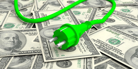 Green electric power plug on dollars banknotes. 3d illustration