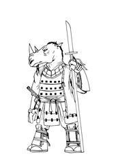 guerriero rinoceronte samurai