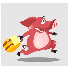 funny chubby pig runs in a hurry while carrying a bag mascot cartoon character