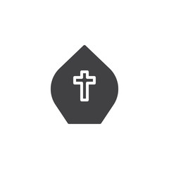 Pope hat vector icon. filled flat sign for mobile concept and web design. Miter with cross simple solid icon. Symbol, logo illustration. Pixel perfect vector graphics