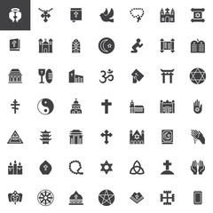 Religion elements vector icons set, Symbol collection, filled style pictogram pack. Signs, logo illustration. Set includes icons as Angel, Cross, Holy Bible Book, Rosary beads, Mosque, Church