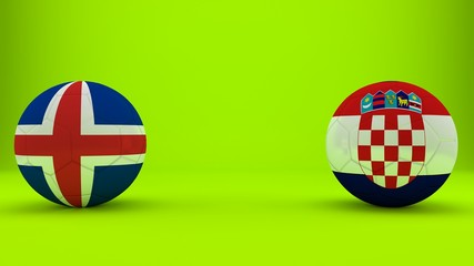 Football match Iceland vs. Croatia. Soccer ball in the form of a flag on a green background. 3d illustration with space for text.