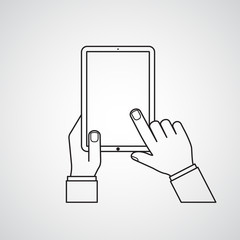 Carved silhouette flat icon, simple vector. Man's hands checking empty tablet. Illustration for business, infographic, demonstrating images and display of information. Electronic tablet touchscreen