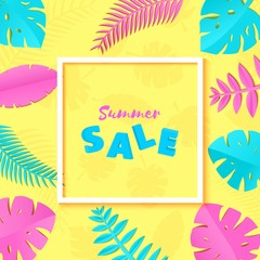 Summer Tropical leaves in trandy paper cut style. White square frame 3d letters SALE on exotic blue pink leaves on yellow sunny background for advertising. Rectangular lable. Vector card illustration.