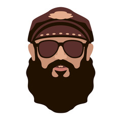 biker face vector illustration flat style front