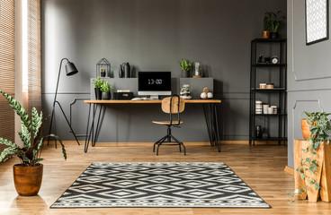 Scandi grey home office interior