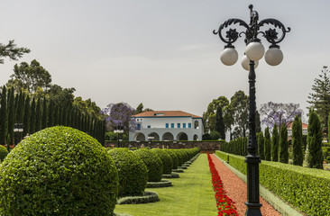 Acre, Israel - May 10, 2018 : Bahai Gardens in Acre, Israel
