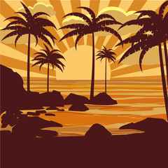 Vector floral tropical background with palm trees, palms silhouettes, beach, sea, ocean, vector, isolated, baner, poster, card