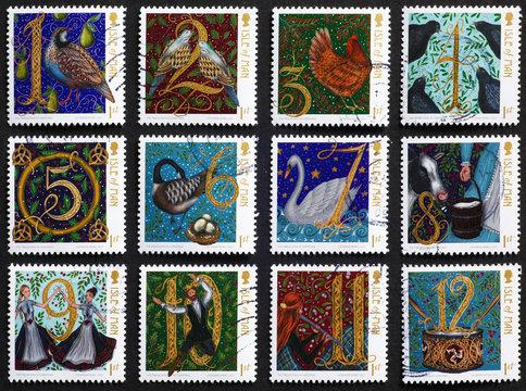 Twelve days of Christmas on postage stamps