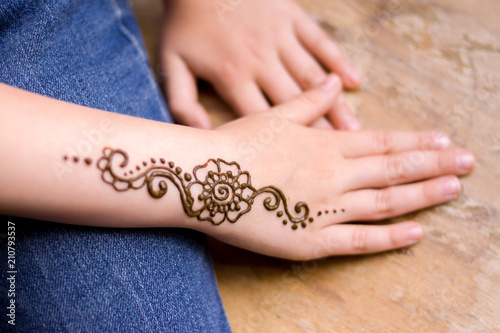 Henna Tattoo On Small Girl Hand Mehndi Is Traditional Indian