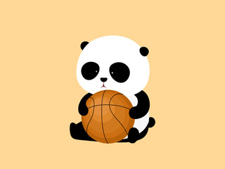 Vector Illustration. A cute cartoon giant panda is sitting on the ground, holding a basketball.