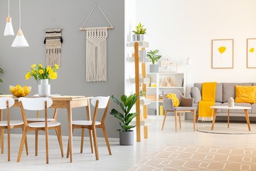 Real photo of a spacious home interior with wooden table, white chairs and macrame on the wall in dining room and a gray sofa and armchair in the living room