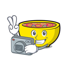 Photographer soup union mascot cartoon