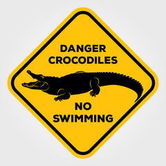 Danger crocodiles no swimming sign