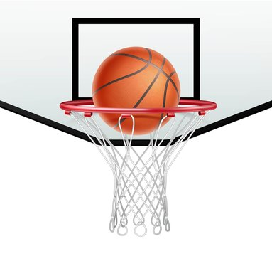 Basketball hoop and ball for basketball on white background