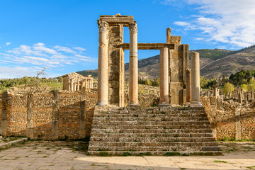 Djemila, the archaeological zone of the well preserved Berber-Roman ruins in North Africa, Algeria. UNESCO World Heritage Site