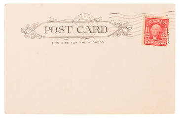 Antique post card from USA circa 1906 with New Orleans postal meter stamp and Washington postage stamp isolated on white background