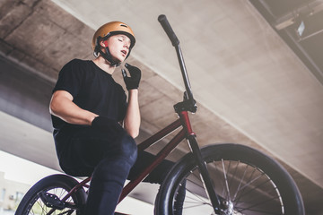 Young man in skatepark