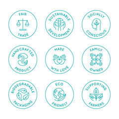 Vector set of linear circle design elements, logo templates, icons and badges for natural organic cosmetics with clean ingredients