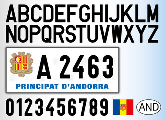 Andorra old car license plate, letters, numbers and symbols