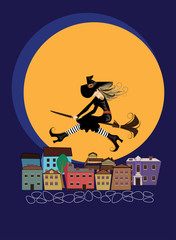 cheerful witch on a broomstick, flying over rooftops in the city on background moon, vector illustration of halloween