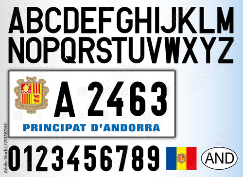 Andorra Old Car License Plate Letters Numbers And Symbols Stock