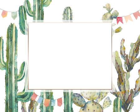 Watercolor cactus party card in boho chic style. Hand drawn greeting design with flag garlands and desert plants on white background. Invitation with various cacti
