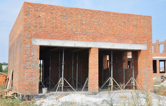 Building new brick garage. Garage construction.