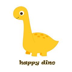 happy dino on white