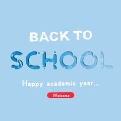 Welcome Back to school. Banner with set of doodle icons on blue background. Concept for education. Vector illustration EPS10